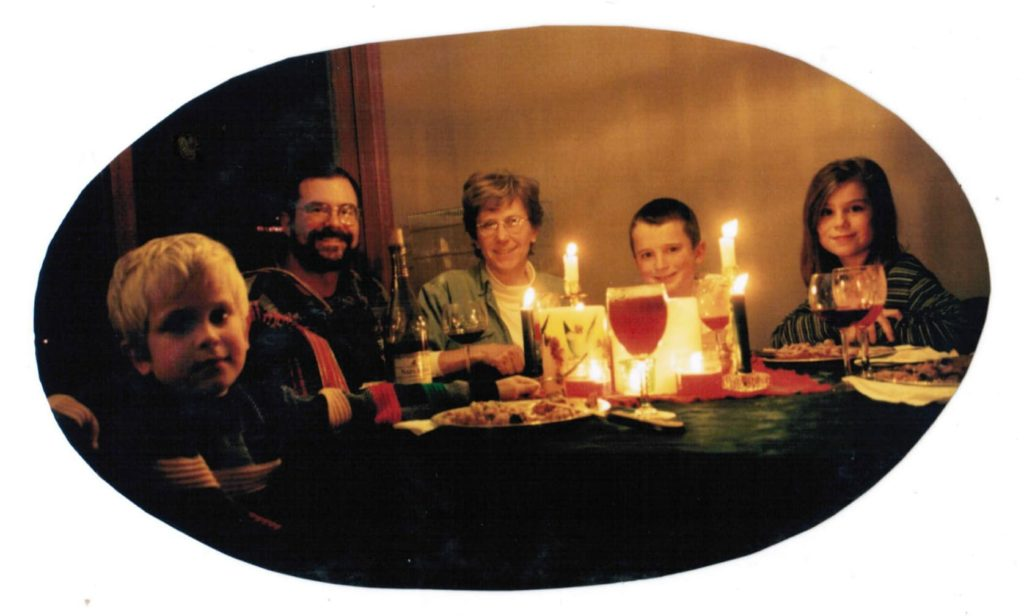 A candlelit dinner is a great family bonding activity.
